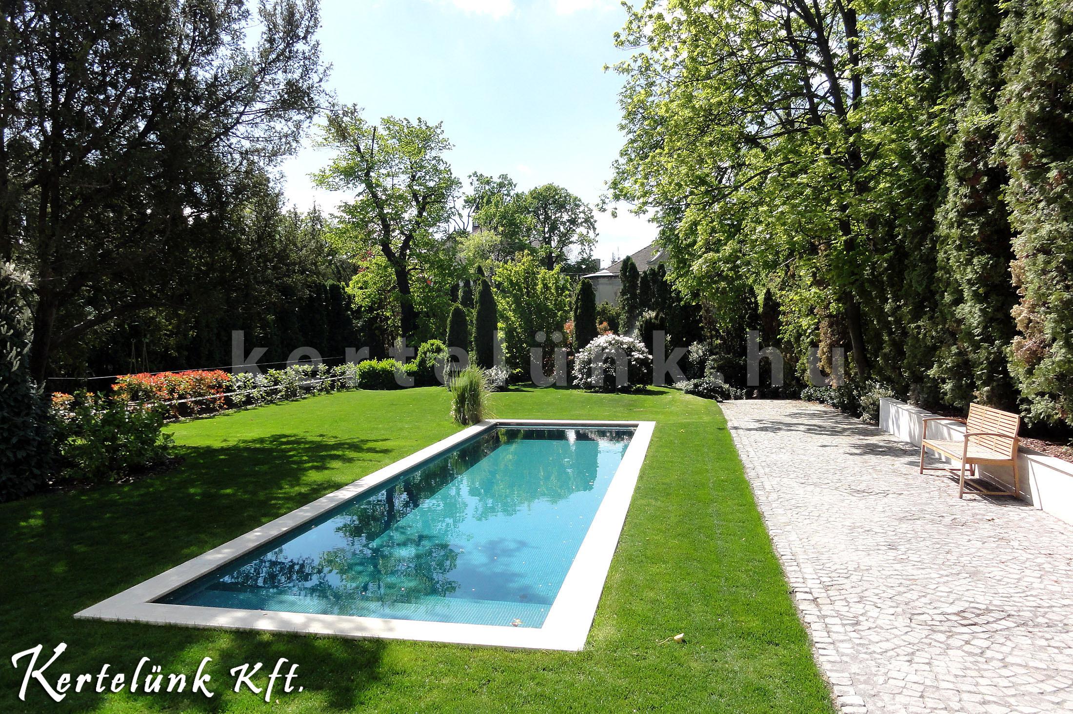 Hátsó kert medencével.