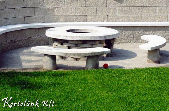 A kerti sütő is nyers beton borítást kapott.
